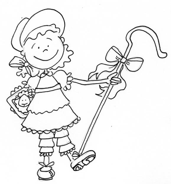 Free coloring pages of little bo peep for Little bo peep coloring pages